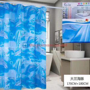 Rèm phòng tắm cá heo xanh